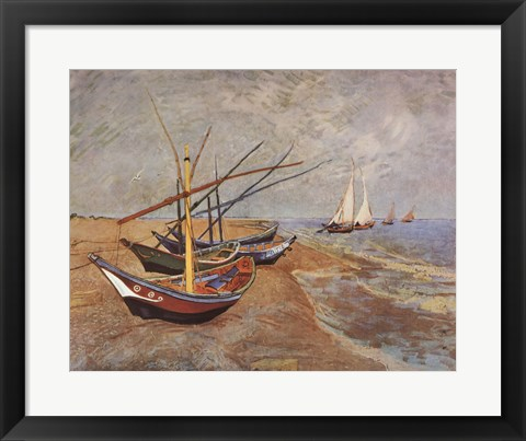 Framed Boats at Saint-Maries, 1888 Print