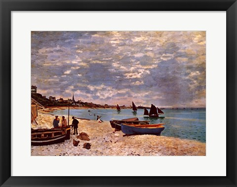 Framed Beach at Sainte-Adresse Print