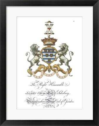 Framed Coat of Arms - James Cecil of Salisbury Print