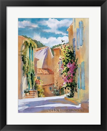 Framed Coastal Village, France Print