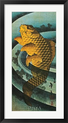 Framed Carp Leaping in a Pool Print