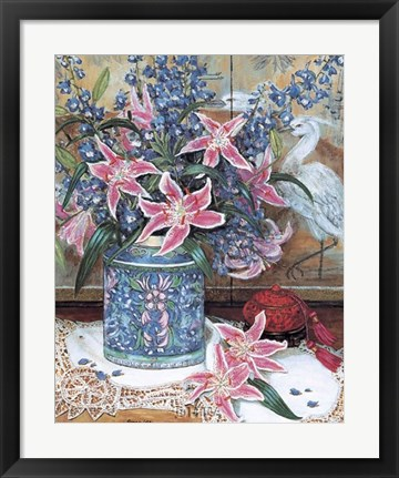 Framed Pink Tiger Lilies with Cinnabar Print