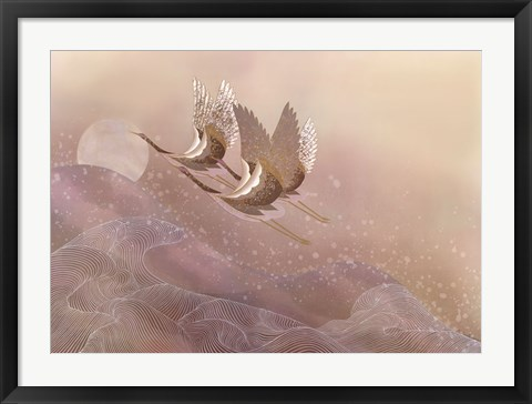 Framed Cranes Over Waves Print