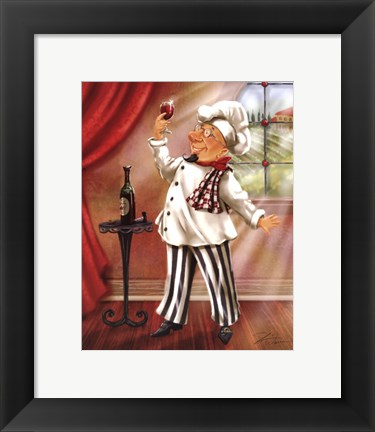 Framed Chefs With Wine IV Print