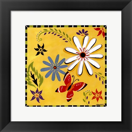 Framed Daisies And Butterflies-Yellow Print