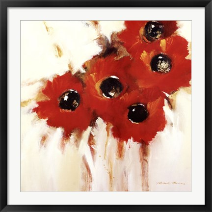 Framed Crimson Poppies I Print