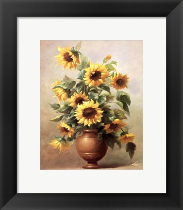 Framed Sunflowers In Bronze II Print