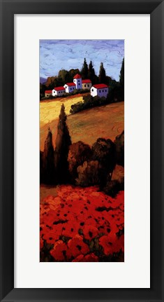 Framed Tuscan Poppies Panel II Print