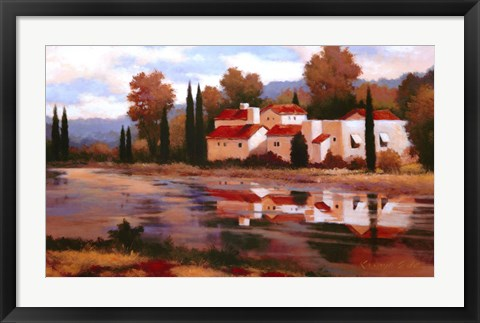 Framed Village Reflection Print