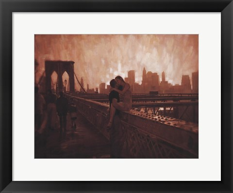 Framed Les Amoureux de Brooklyn Bridge Print