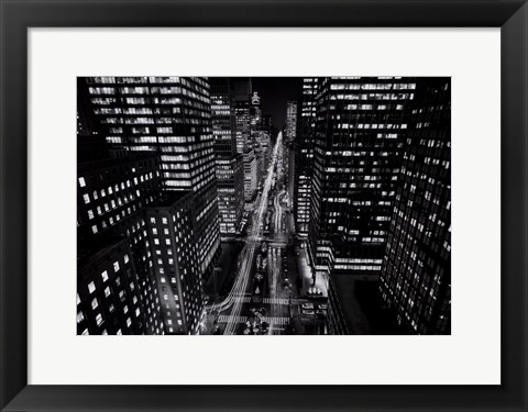 Framed Park Avenue at Night, NYC Print