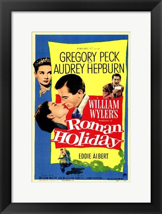 Framed Roman Holiday Gregory Peck & Audrey Hepburn Print