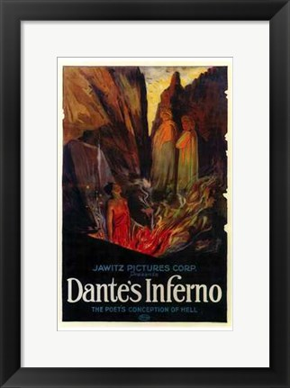 Framed Dante's Inferno - The poets conception of hell Print