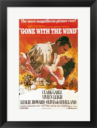 Framed Gone with the Wind movie poster Print