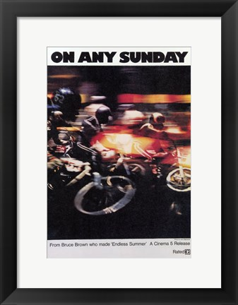 Framed on Any Sunday - bike racing Print
