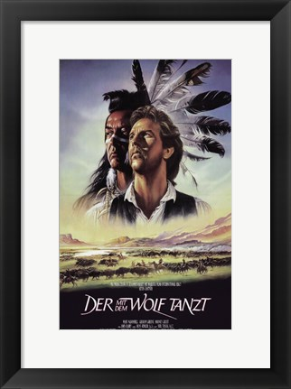 Framed Dances with Wolves Native American Print