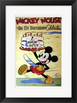 Framed Mickey Mouse in His 8Th Birthday Celebra Print