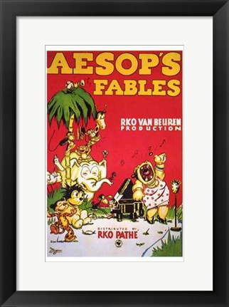 Framed Aesop's Fables - red Print