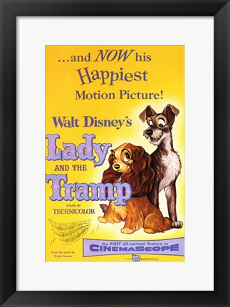 Framed Lady and the Tramp Happiest Motion Picture Print