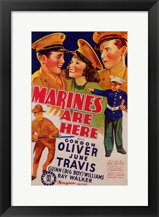 Framed Marines Are Here Print