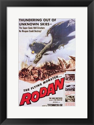 Framed Rodan Flying Monster Print