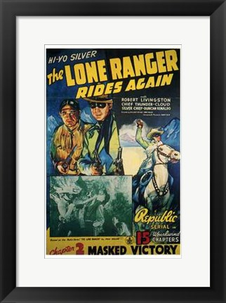Framed Lone Ranger Rides Again Masked Victory Print