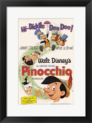 Framed Pinocchio Hi-Diddle Dee Dee! Print