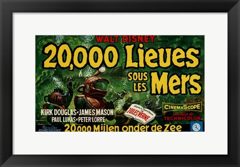 Framed 20 000 Leagues Under the Sea French Print