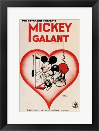 Framed Mickey Mouse - heart Print