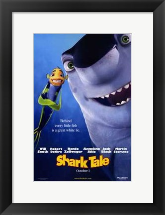 Framed Shark Tale - behind every little fish is a great white lie Print