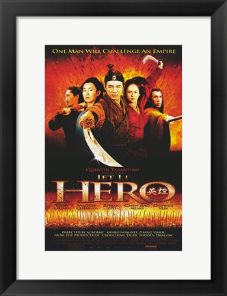 Framed Hero Jet Li Cast Print