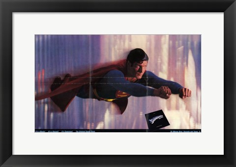 Framed Superman: the Movie Flying in the Sky Print