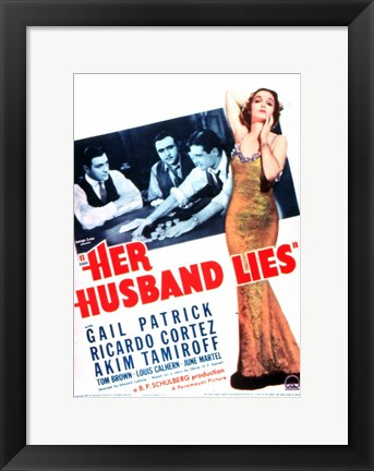 Framed Her Husband Lies Print