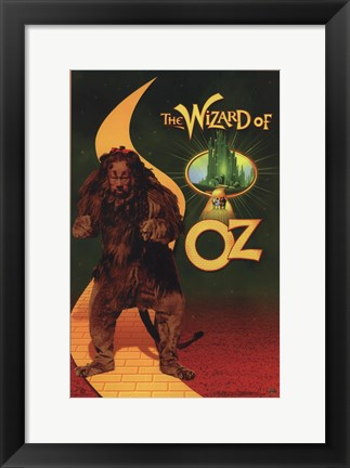Framed Wizard of Oz Cowardly Lion Print