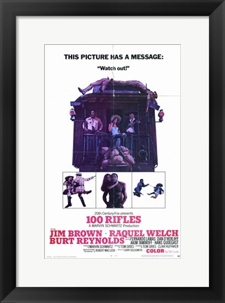 Framed 100 Rifles Watch Out! Print
