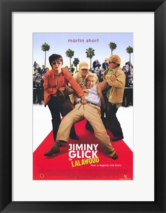 Framed Jiminy Glick in La La Wood Print