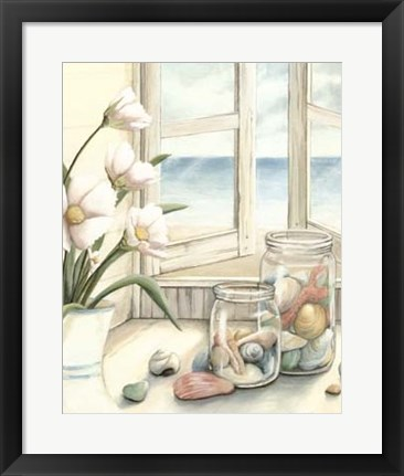 Framed Beach House View I Print