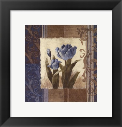 Framed Blue Tulip Scroll Print