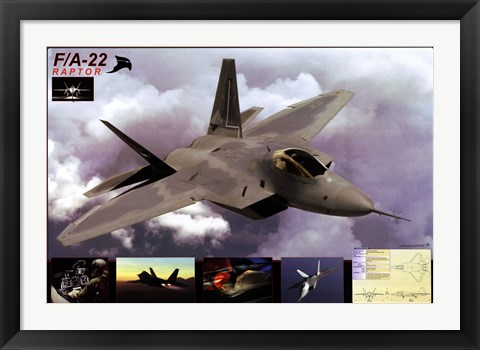 Framed Airplane Raptor F/A-22 Print