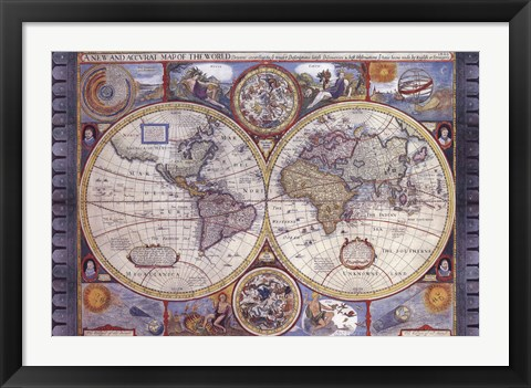 Framed Map - Antique - New Map Of The World Print