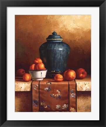 Framed Ginger Jar with Peaches, Apricots & Tapestry Print