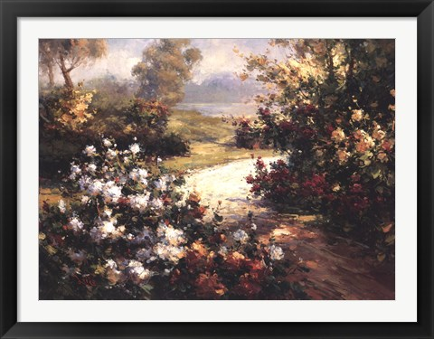 Framed Pathway of Flowers Print