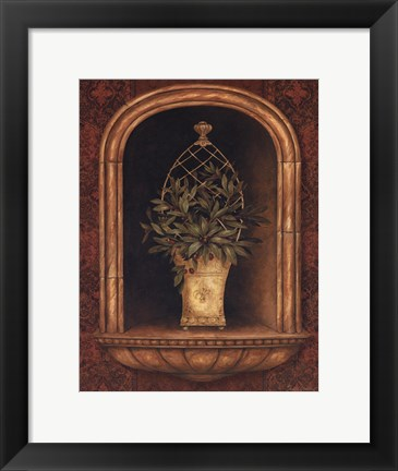 Framed Olive Topiary Niches II - special Print