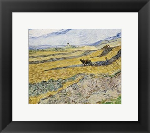 Framed Enclosed Field with Ploughman Print