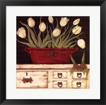 Framed White Cupboard Print