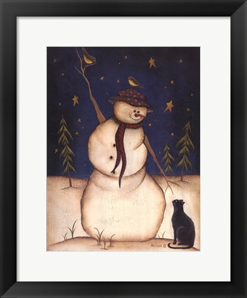 Framed Snowmen with Black Cat Print