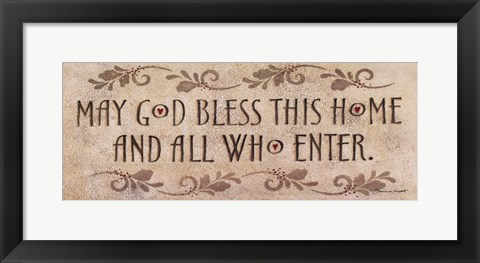 Framed May God Bless This Home Print