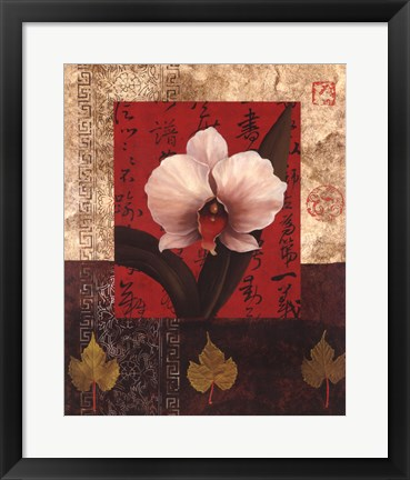Framed White Chinese Orchid Print