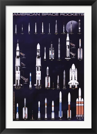 Framed American Space Rockets Print