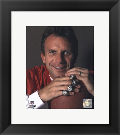 Framed Joe Montana -4 Super Bowl Rings Print
